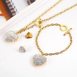 3pc Heart-shaped Stainless steel Jewelry set